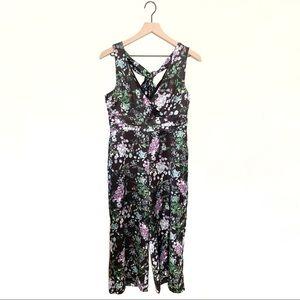Anthropologie Foxiedox dark floral jumpsuit medium